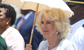 The Duchess of Cornwall keeps her cool in Barbados & wait until you see her beach bag