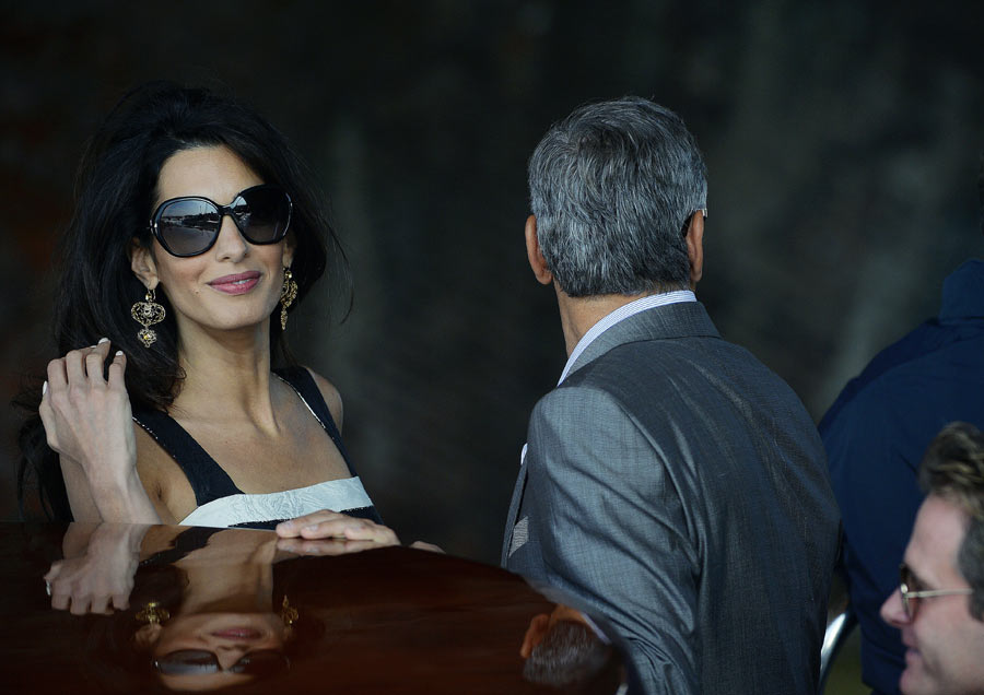 George Clooney and Amal Alamuddin take a taxi boat ...