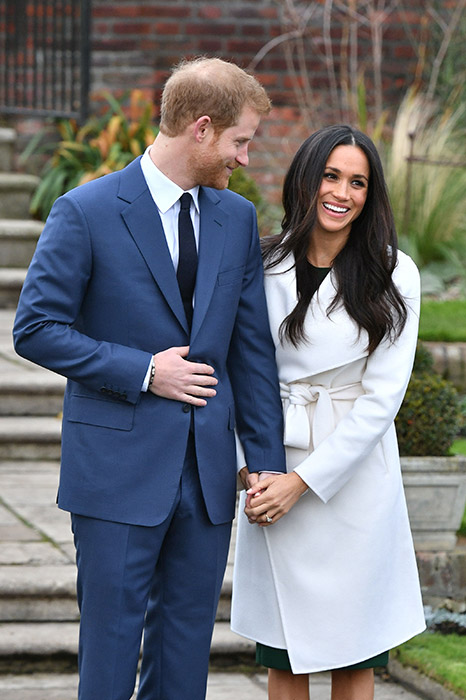 Prince Harry and Meghan Markle holding hands in a recent engagment photo