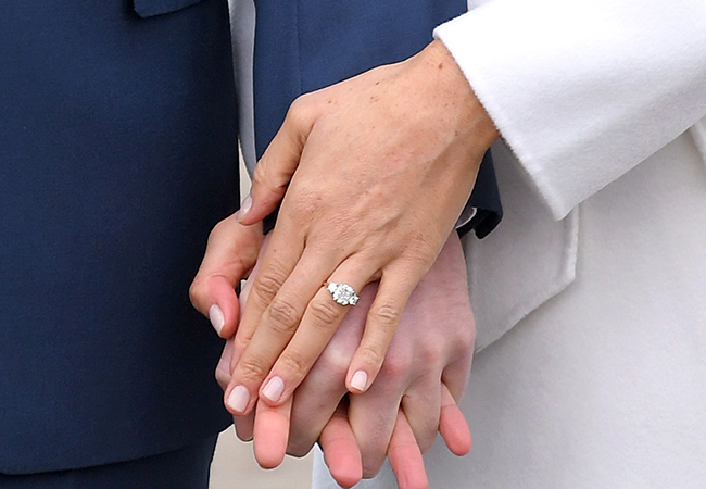 Close up of Meghan Markle's engagement ring