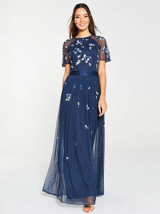 Very-navy-embroidered-bridesmaid-dress