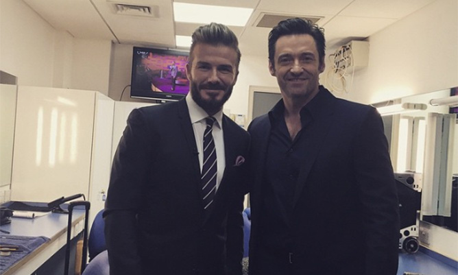 Hugh Jackman and David Beckham are backstage buddies at TV show taping