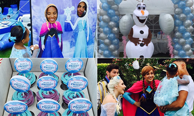 Rochelle and Marvin Humes pull out all the stops for Alaia-Mai's Frozen-themed party