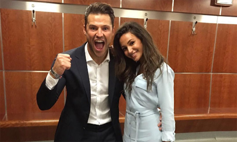 Michelle Keegan cheers on Mark Wright as he is named Soccer Aid's Man of the Match