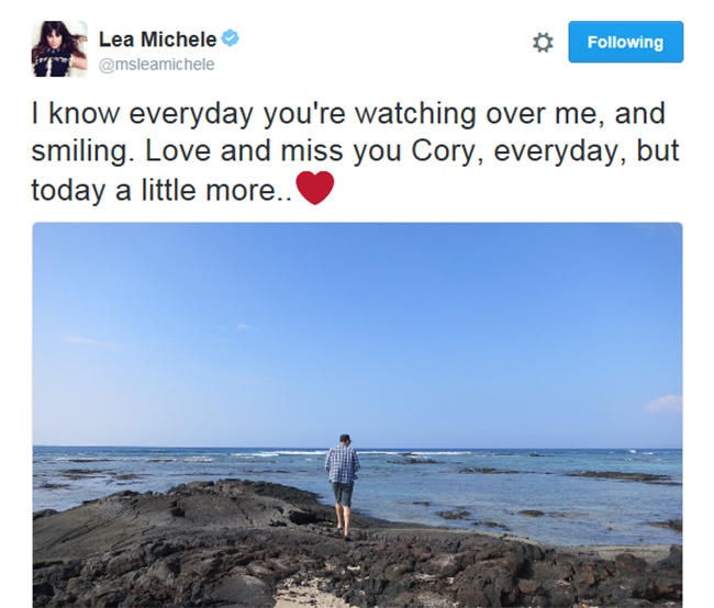 Lea Michellte tweets: I know everyday you're watching over me, and smiling. Love and miss you Cory, everyday, but today a little more...heart
