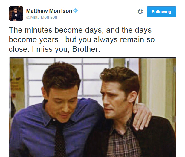 Mathew Morrison tweets: The minutes become days, and the days become years...but you always remain so close. I miss you, Brother.