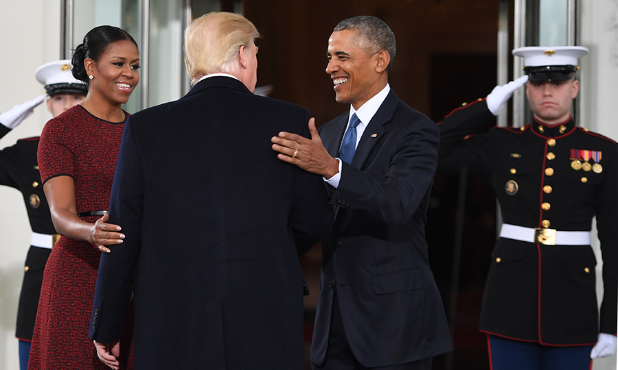 Barack and michelle obama greet donald and melania trump for white gallery53 m4hsunfo