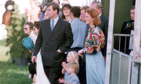 Prince Andrew and Sarah Ferguson with little Beatrice and Eugenie