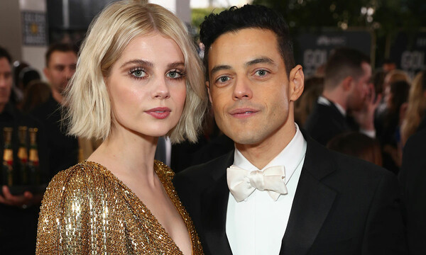 Rami Malek and Lucy Boynton at the Golden Globes