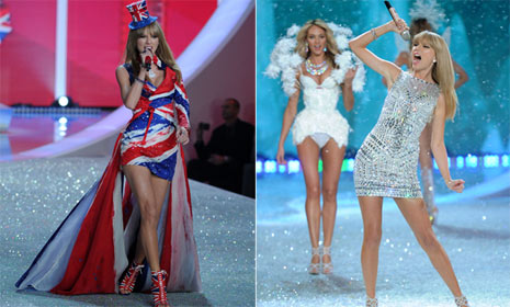 Stunning Taylor Swift shares catwalk with Victoria's Secret angels