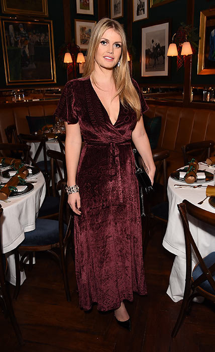 Kitty Spencer wearing a velvet dress with a plunging neckline