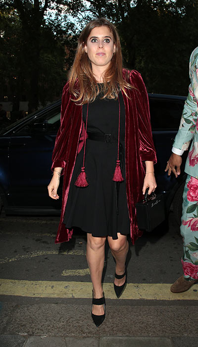 Princess Beatrice wearing a velvet jacket