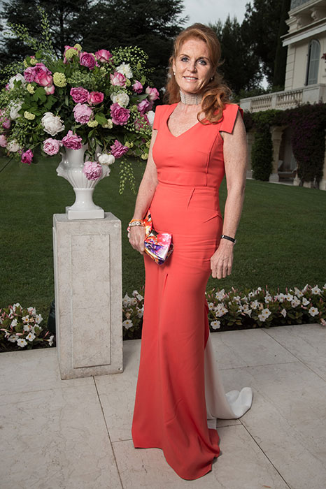 Sarah Ferguson wearing a coral evening dress