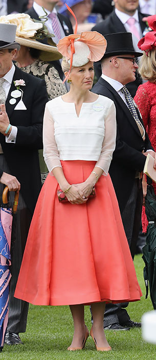 Sophie Wessex wearing a coral skirt to Ascot