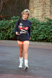 Princess Diana wearing pink gym shorts