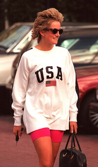 Princess Diana wearing a USA sweatshirt and cycling shorts