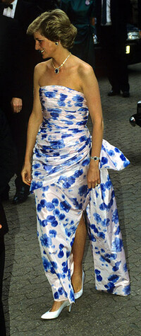 Princess Diana wearing a floral dress at the Crocodile Dundee premiere