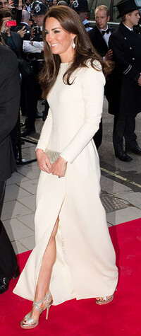 Kate Middleton wearing a cream Roland Mouret dress