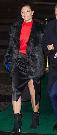 Princess Victoria wearing a split leg skirt in Stockholm