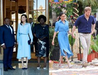 Queen Letizia and Meghan Markle wearing the same blue dress