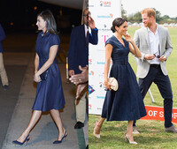 Queen Letizia and Meghan Markle wearing the same blue denim dress