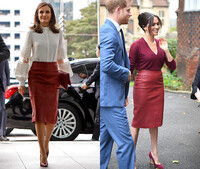 Meghan Markle and Queen Letizia wearing the same red leather skirt