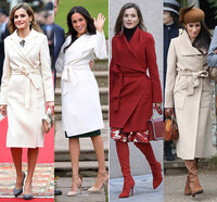 Queen Letizia and Meghan Markle wearing belted coats