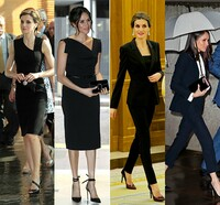 Meghan Markle and Queen Letizia both wearing black suits and dresses