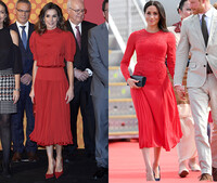 Meghan Markle and Queen Letizia dressed the same in red dresses