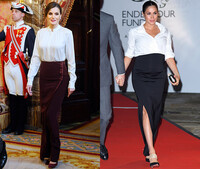 Meghan and Letizia wearing a white blouse into a long column skirt for evening events.