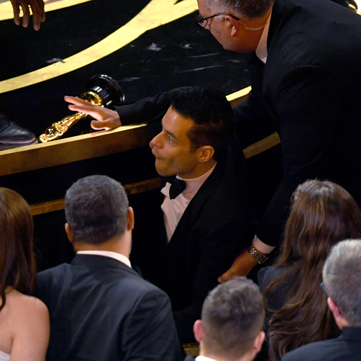 Rami Malek took a serious tumble at the Oscars after winning Best Actor - see photos