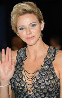Princess Charlene glam hair and party makeup picture