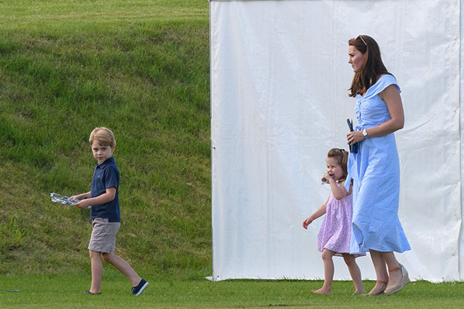 Kate Middleton, prince george and princess charlotte at the polo