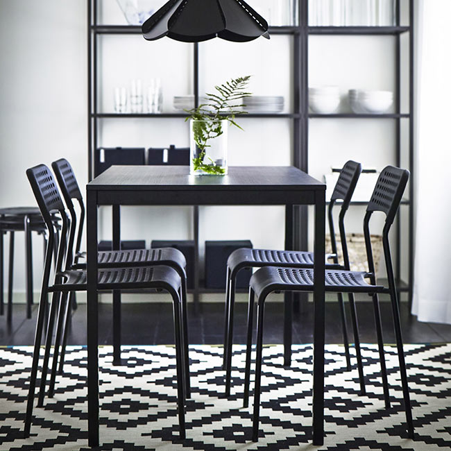 IKEA-black-and-white-dining-room