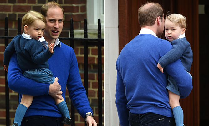 Prince George arrives to meet his baby sister