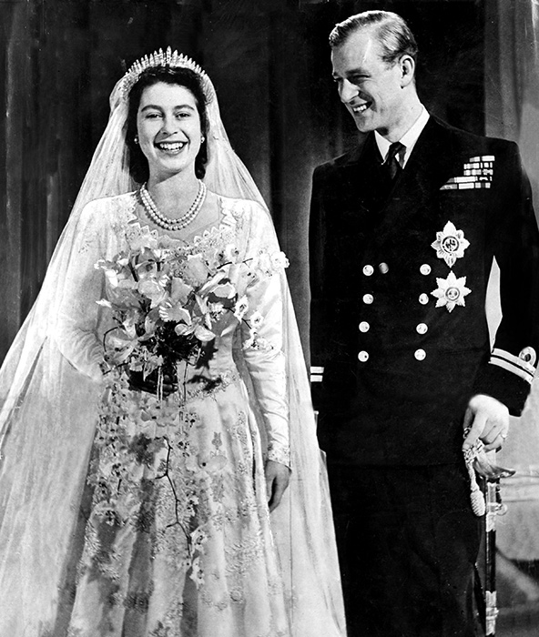Queen and Prince Philip pictured on their wedding day