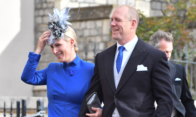 zara and mike tindall at princess eugenie wedding
