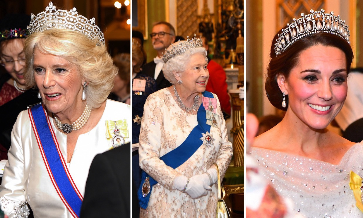 Duchess Kate, Camilla and the Queen dazzle in tiaras at Buckingham Palace Diplomatic Corps reception – all the pictures