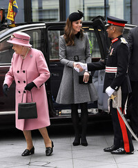 kate middleton shakes hands engagement queen