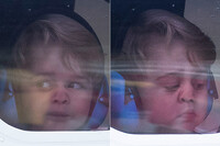 Prince George pressing nose against window