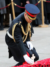 prince harry lays cross