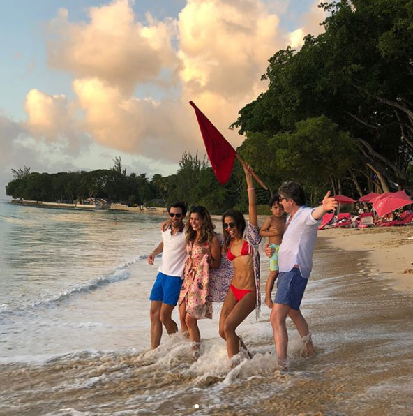 Viscount and Viscountess Weymouth and friends on the beach of Barbados