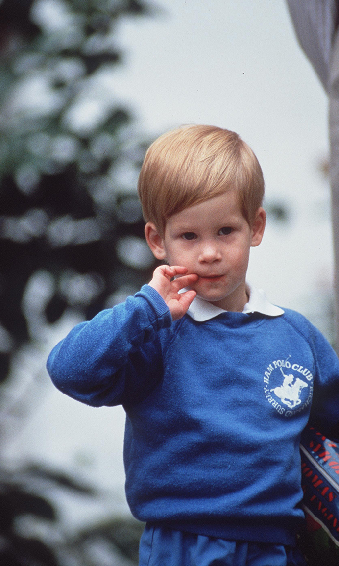Prince Harry on his first day at  Mrs Mynors nursery school    (Photo by Tim Graham/Getty Images)