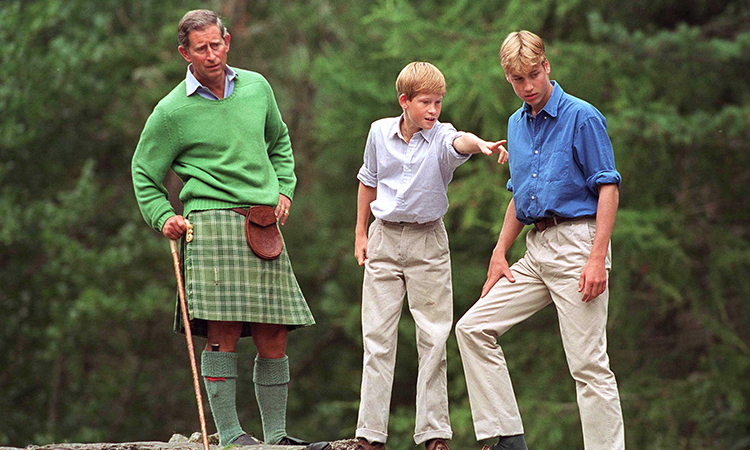 Prince Charles with Prince William And Prince Harry visit Glen Muick on the Balmoral Castle Estate    (Photo by Tim Graham/Getty Images)