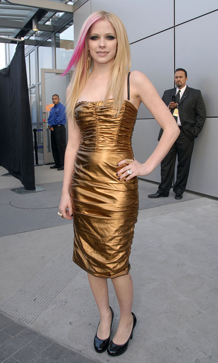 Golden Girl Avril shone brightly at the 2007 American Music Awards in a strapless metallic gown.