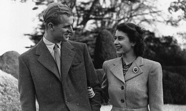 Princess Elizabeth and Philip go for a romantic stroll during their honeymoon at Broadlands, Romsey, Hampshire in 1947.