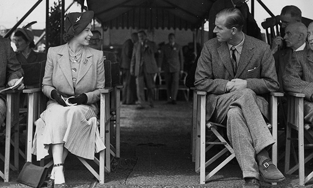 The couple gaze adoringly at each other as they attend the Royal Horse Show at Windsor in 1949.
