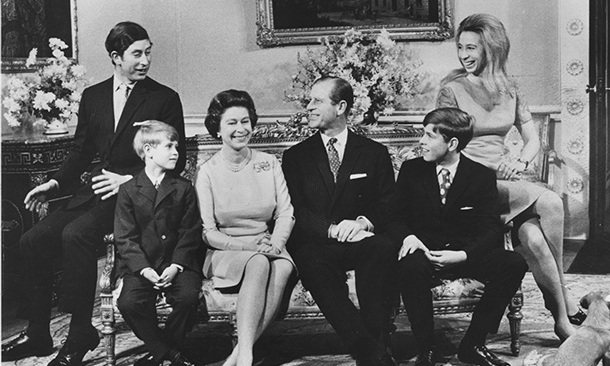 The Queen and Prince Philip with their children, princes Charles, Edward and Andrew and Princess Anne, to celebrate their silver wedding anniversary at Buckingham Palace in 1972