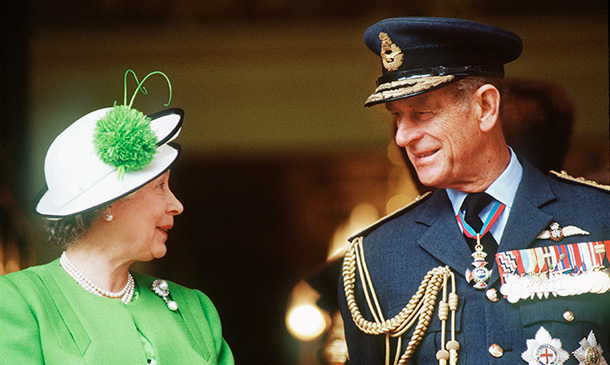 Queen Elizabeth and Prince Philip chat during the Gulf Parade in London in June 1991.
