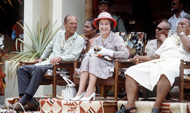 The royal couple enjoying a visit to Tuvalu in the South Pacific in 1982.